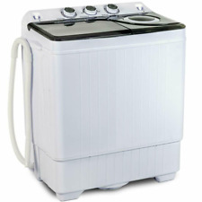 Compact Washing Machine Twin Tub Built in Drain Pump Laundry Spiner &Dryer 26 Lb
