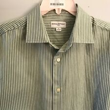 BANANA REPUBLIC Mens Green Striped Dress Button Shirt - Size M Medium 15 - 15.5