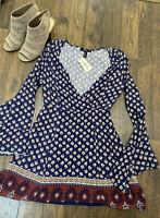 NWT Forever 21 Floral Navy Shift Long Sleeve Dress S Boho New Small Bell Sleeve