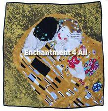 "100% Pure Silk Art Scarf Wrap 35""x35"" Handmade w/ Klimt's ""The Kiss"" Close-Up"