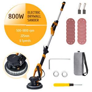 UPGRADE 800W Drywall Sander w/ Long Handle Automatic Vacuum 225mm Sanding Discs
