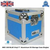 "1 X NEO Aluminium BLUE DJ Flight Case to Store 100 Vinyl Single 7"" Record STRONG"