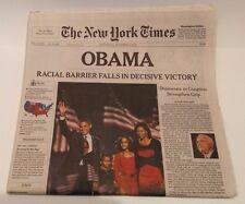 New York Times Obama Wins Election Nov 5, 2008 Sealed-Shipped Flat MintCondition