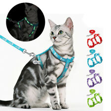 Nylon Cat Harness Leash Reflective Adjustable Kitten Walking Vest with Printing