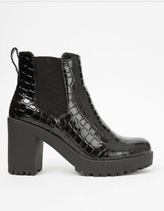 George Bnwt Black Patent Mock Croc Cleated Ankle Boots Size UK 6