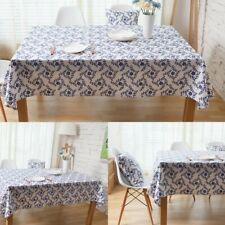 Home Table Cloth Decor Blue Flower Printed Tablecloth Chair Cushion Cotton Linen