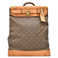 Authentic Louis Vuitton Monogram Travel Satchel Hand Bag Steamer 35 Vintage LV