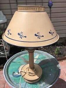 Vintage Cream Tole Ware Table Lamp With Blue -colored Accents
