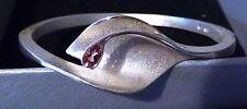 Contemporary Brushed Sterling Silver & TeardropTourmaline Hinged Bangle Bracelet