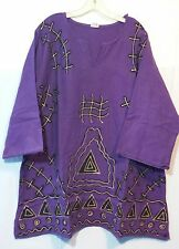 African Men Mud Dashiki Blouse T Shirt Top Vintage Boho Purple Gold Free Size