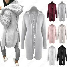 LADIES PLAIT BACK FISHERMAN CHUNKY KNIT HOODED OPEN FRONT LONG CARDIGAN COAT