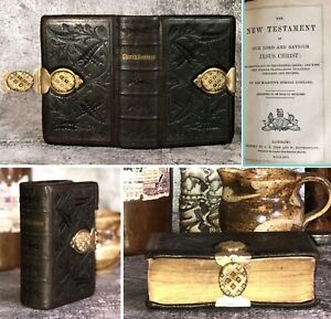 Antique 1866 Old Bible & Prayer Book Fine Tooled Embossed Leather Clasp Oxford