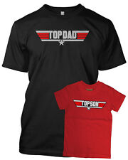 TOP DAD & TOP SON Father/Son Tshirt Set Black/Red 'TOP GUN' Inspired Fathers Day