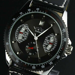 WINNER Mens Automatic Mechanical Luxury Leather Strap Sports Wrist Watches Black