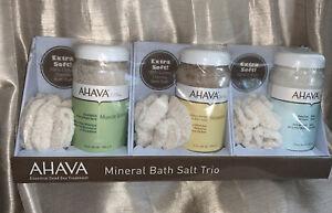 Ahava mineral bath salt trio muscle soothing relaxtion dead sea nip new Rare Set
