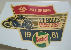 Isle of Man TT Races 1961 / Castrol - Original NOS Water Transfer Sticker