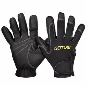 Goture Fishing Gloves 2 Cut Finger Non-slip Hiking Climbing Sports Gloves Black