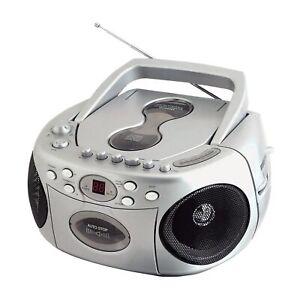 Sylvania SRCD286S Portable Cd Radio Boombox Silver