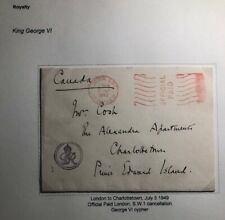 1949 London England Official Royalty Cover To Charlottetown Canada Gr Cypher