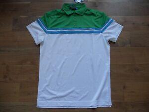 NWT J. Lindeberg Golf Shirt Polo Green/White/Blue Size M