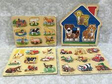 Melissa and Doug Wood and Peg Puzzles Lot of 4 Ages 1+ Farm Pets Construction