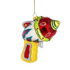 "RAY GUN GLASS ORNAMENT 4"" Retro Outer Space Toy Blaster Sci Fi Christmas Tree"