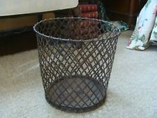 Antique INDUSTRIAL Wire Mesh Paper Waste Basket TRASH CAN Factory Office