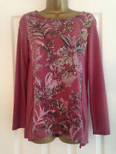 M&s per Una Pink Floral Long Sleeved Jersey Top Size 8