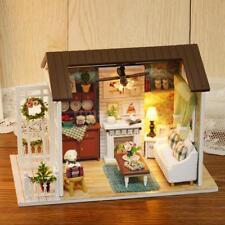 DIY Miniature Dollhouse Kit Mini 3D Wooden House with Furniture LED  Lights K8G5