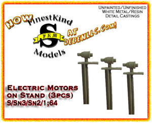 FinestKind Models Industrial Electric Motor on Stand (3pcs) NOS S/Sn3/Sn2/1:64