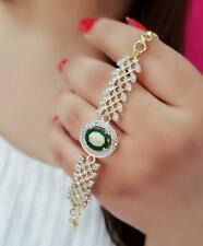 Indian Bollywood American Diamond Gold Plated Bracelet Free Size Casual Party
