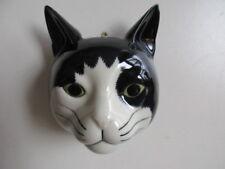 QUAIL CERAMIC BLACK & WHITE CAT  WALL VASE/PLANTER NEW &BOXED
