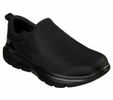 6c7530f308a1 Skechers Extra Wide Fit Black shoe Men Comfort Soft Slip On Casual Go Walk  54738