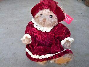 """VINTAGE RUSS Berrie Plush Alexandra 13"""" Velvet Red Dress Stuffed Teddy Bear Toy"""