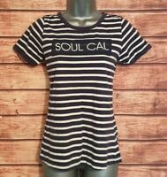 SOUL CAL Size 10 BRETON Striped Top Navy Blue/White EMBROIDERED Tee T Shirt