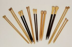 Vintage Wooden Knitting Needles Lot of 9 Pairs US 10-19 6mm-15mm