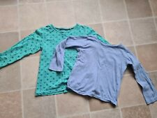 Girls Long Sleeved TShirts x 2 4-5-6 Years Green with Stars & Blue NiceCondition