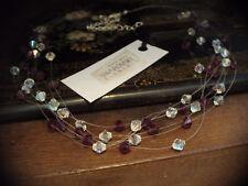 Multi Strand Viola Ametista & AB Collana di cristallo realizzata con elementi Swarovski