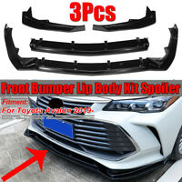 For ToyotaAvalon 2019 Gloss Black 3PCS Front Bumper Lip Body Kit Chin Spoiler