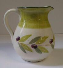 Green Porcelain Vase Pitcher Olive branch design Made in Italy BIZZIRRI