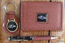 Baltimore Ravens Football NFL Tri-Fold Brown Leather Wallet keyring Pen Gift Set
