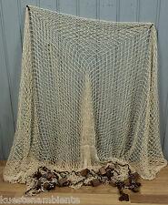Fischernetz ca. 2,5 x 2,5m beige mit 14 Schwimmern für die maritime Dekoration