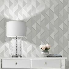 Lipsy Geometric Muriva Wallpaper Grey & Silver 144900 Triangles Stripes Metallic