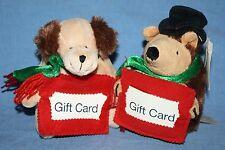 Lot of 2 Dan Dee Plush Dog Ground Hog Stuffed Toy Gift Card Holder Christmas CVS