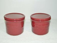 2 Longaberger Woven Traditions Paprika Crocks with Lids or Coasters