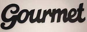 GOURMET Cursive Wood Cutout Large Wall Hang Shelf Deco Kitchen Sign Farmhouse