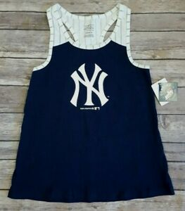 MLB New York Yankees Navy & White Pinstripe Girl's Racerback Tank Top M, L, XL