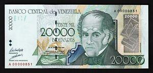 Venezuela 20000 Bolivares 1998, LOW SERIAL A 00000851, First 1000, UNC-, P-82