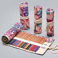 72 Roll School Pencil Case  Canvas Pen Bag Penal Large Pencilcase Stationery_UK