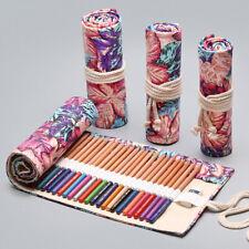 72 Roll School Pencil Case  Canvas Pen Bag Penal Large Pencilcase StationerySE
